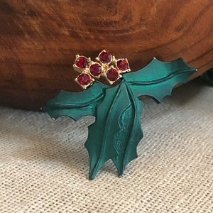 Vintage Signed LR Holly Berry Brooch